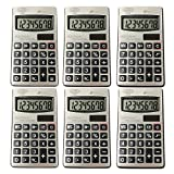Digital Dual Power Small Pocket Size Standard Function Basic 8 Digit Calculator Bulk Value (6- Pack)