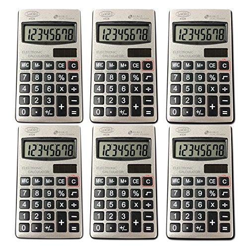 Digital Dual Power Small Pocket Size Standard Function Basic 8 Digit Calculator Bulk Value (6- Pack) by Assortit