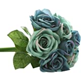 Outtop 9 Heads 10.6 Inch Rose Artificial Flowers Bouquets Fake Flower for Decoration 10.6 inch Dark Blue