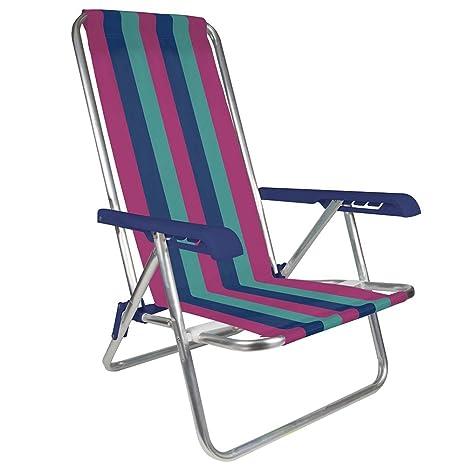 Amazon.com: Mor 4 posiciones aluminio silla de playa ...