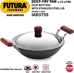 Futura IL26 Induction Compatible Hard Anodized Flat Bottom Deep Fry Pan / Kadhai with Stainless Steel Lid, 3.75 Liter