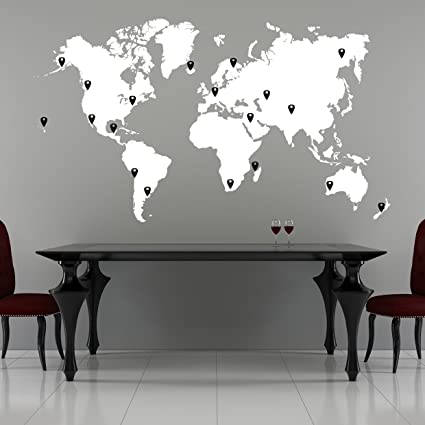 Wall Sticker World Map.Amazon Com Stickerbrand World Map Wall Decal Sticker W 224 Pins