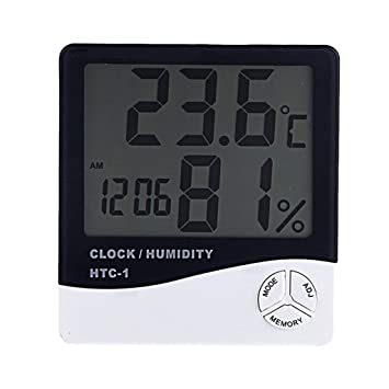 MagiDeal Termómetro Digital LCD Medidor de Temperatura Humedad Higrómetro Reloj Alarma y Función de Calendario Colocación