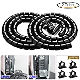 #3: Black Computer Cable Management Wire Cover Electrical Cord Hider Solutions 2 PCS, VIWIEU Tangle Free Sprial Cable Zipper Tube with 4 Adhesive Cable Clamps for TV Laptop Floor Home & Office