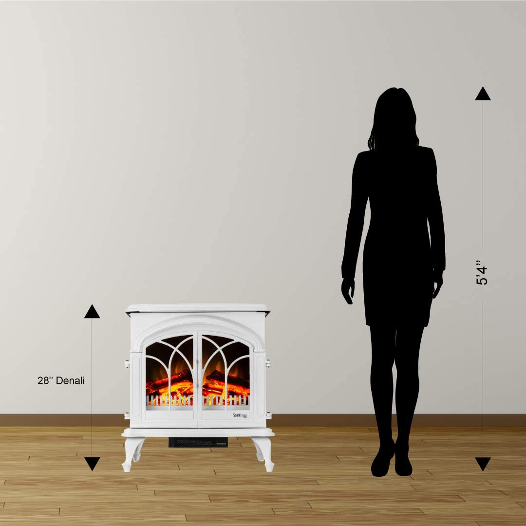 Black e-Flame USA 28 XL Denali Portable Freestanding Electric Fireplace Stove 3-D Log and Fire Effect