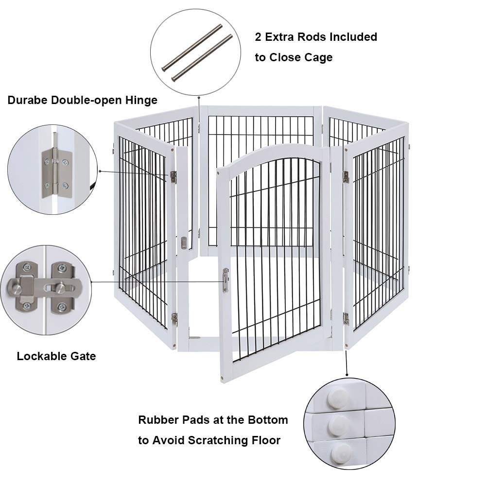 unipaws Pet Playpen with 4 Support Feet, 6 Panels Freestanding Dog Gate with Lockable Door, Foldable Stairs Barrier Pet Exercise Pen for Dogs Cats Pets, Safety Fence for Indoor Use by unipaws (Image #4)