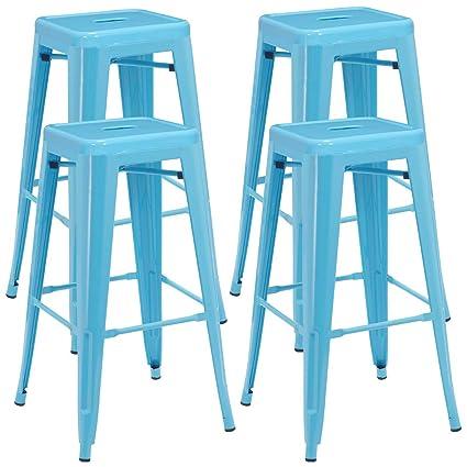Fantastic Backless Industrial Design Metal Iron Stools 30 Set Of 4 Duhome Wy 665D Metal Bar Stool Blue Inzonedesignstudio Interior Chair Design Inzonedesignstudiocom