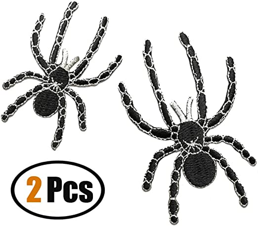 ID 0925 Black Widow Spider Patch Halloween Symbol Embroidered Iron On Applique