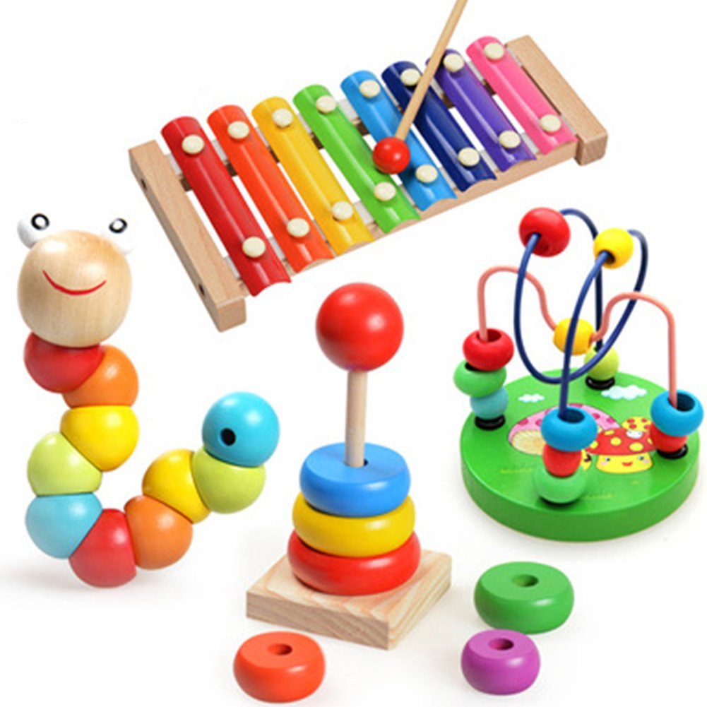 1 Sets of Wooden Educational Toys - Preschool Learning First Developmental Toy Birthday Gift for Toddlers Kids Baby Children Boys Girls FULLANT