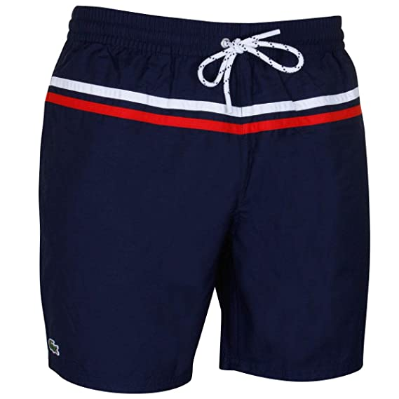 edc7f220c8 Lacoste Men's Striped Taffeta Swim Shorts Blue: Amazon.co.uk: Clothing