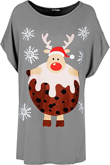 New Womens Ladies  Reindeer Pudding Baggy Oversized Christmas T Shirt Mini Dress