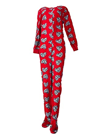 Womens Red Leopard Heart Fleece Footed Pajama Sleeper Unionsuit Large