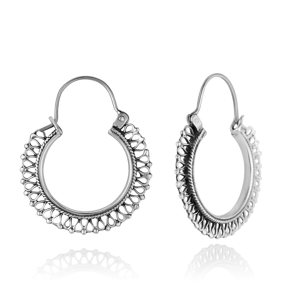 dccb7064c Amazon.com: 925 Oxidized Sterling Silver Ethnic Tribal Filigree Indian  Native Design Hoops Earrings 1.53