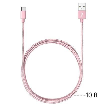 [2 Pack 6 ft] ASSTAR USB C cable, tipo C a USB Un Cable/Cable de carga y sincronización para ZTE ZMAX Pro Z981/OnePlus tres/OnePlus 3T perno en forma ...