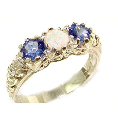 Luxury Solid English Sterling Silver Natural Blue Sapphire Trilogy Ring FRcZRI
