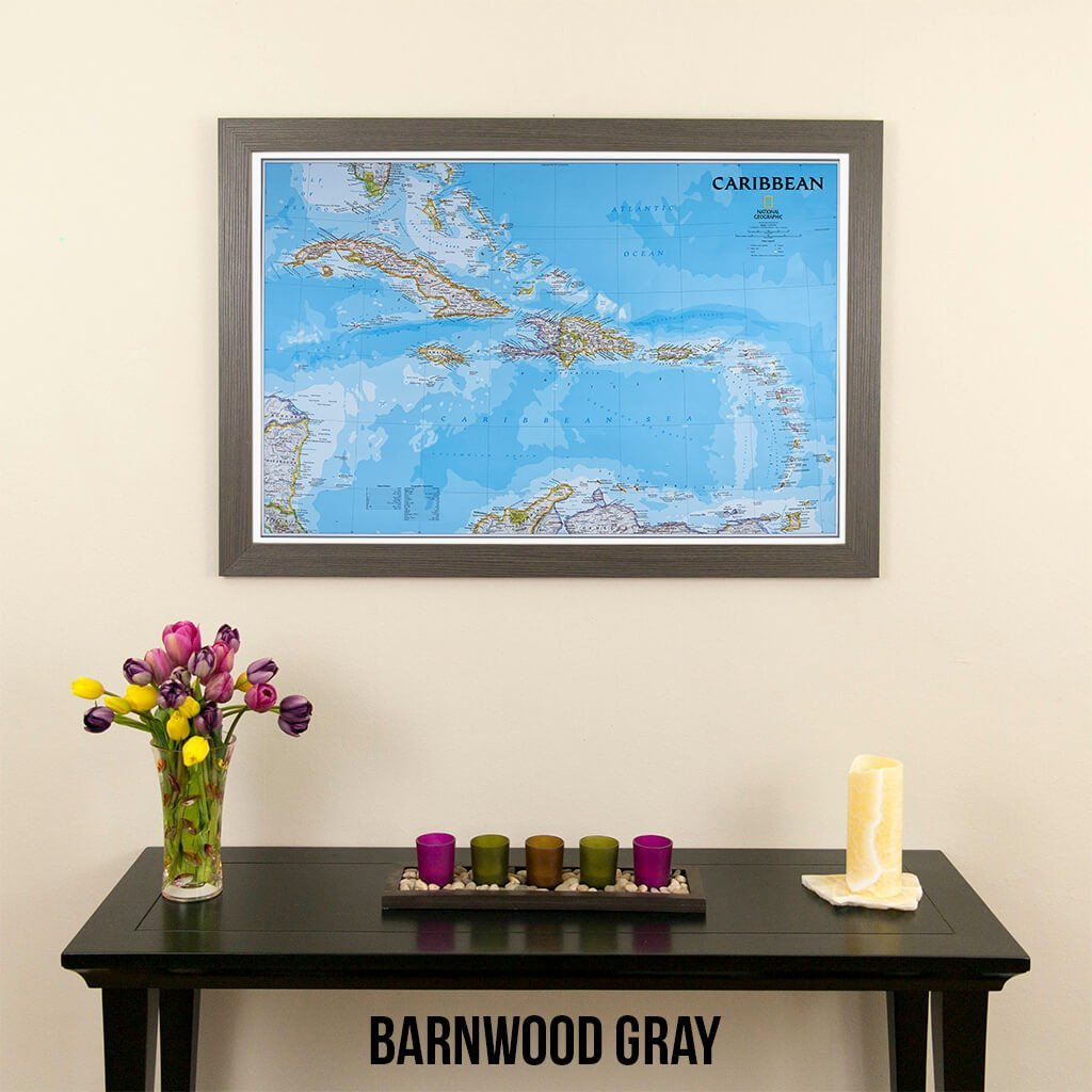 Push Pin Travel Maps Classic Caribbean with Barnwood Gray Frame and Pins 24 x 36