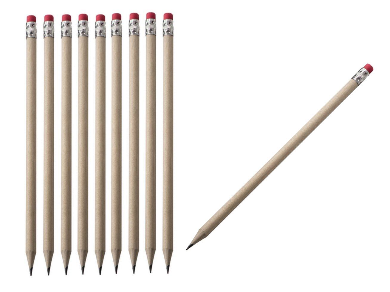 non verniciate e senza logo del produttore HB 50 matite con gomma grado di durezza