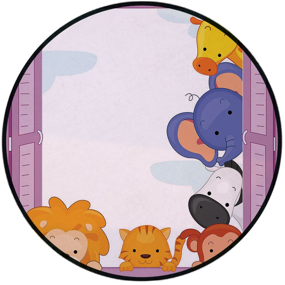 Printing Round Rug,Zoo,Cute Colorful Animals Peeping at Pink Window Cartoon Frame Cat Monkey Lion Elephant Decorative Mat Non-Slip Soft Entrance Mat Door Floor Rug Area Rug For Chair Living Room,Multi