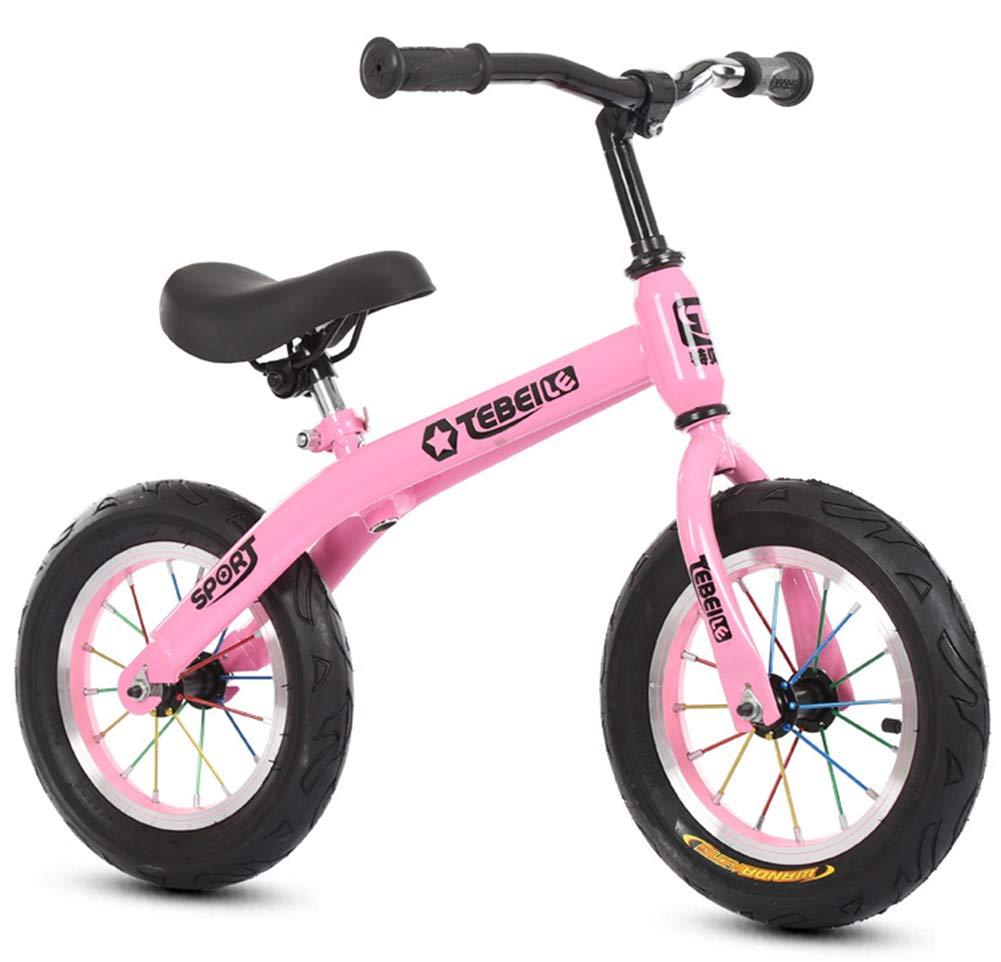 子供のためのバランスのバイク、炭素鋼フレーム軽量のペダルトレーニング子供のサイクルを調整可能なハンドルバーと座席2-6 歳のために適した  Pink B07PBYP56Z