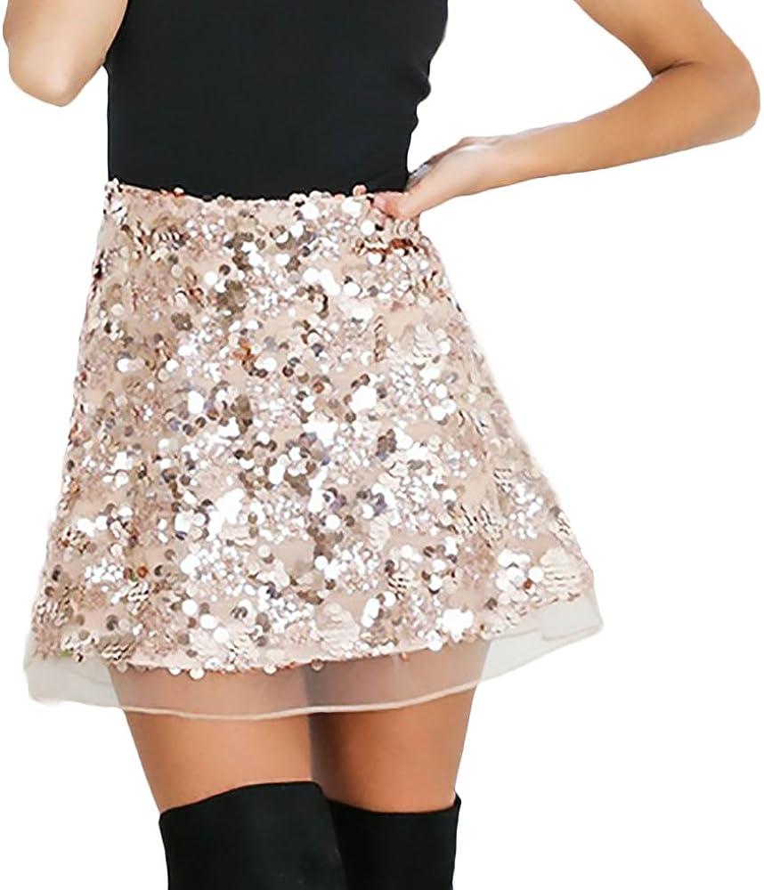 Faldas Mujer Verano Elegantes Vintage Brillo Lentejuelas Falda ...
