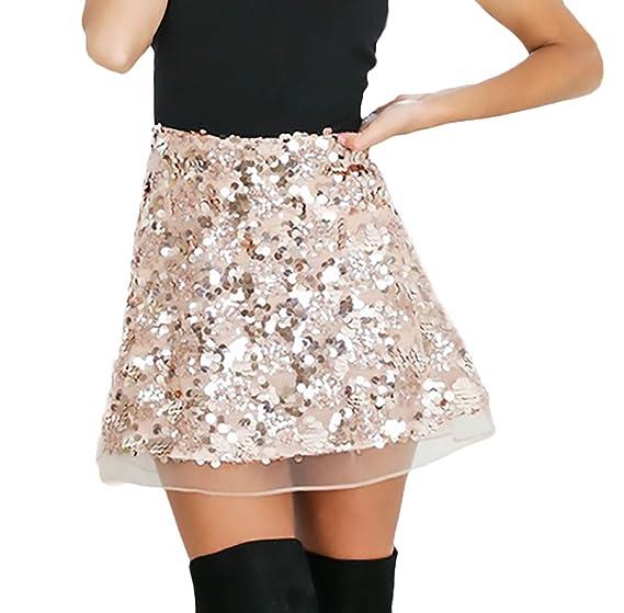 Mujer Faldas Verano Elegantes Vintage Brillo Lentejuelas Falda ...