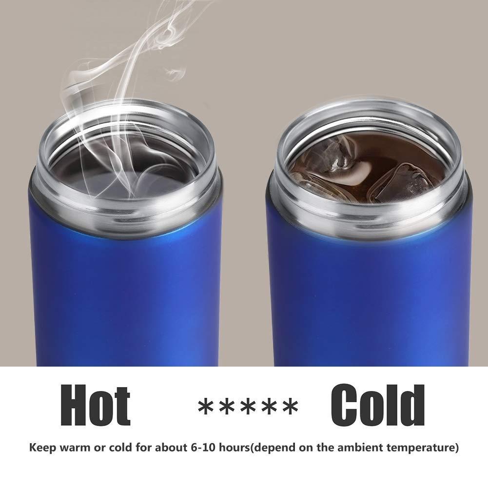 Blue Sicuro Anti-Hot Misdsy Tazze Portatile Tazza Tazza da Viaggio in Acciaio Inox con Isolamento Termico a Forma di Bottiglia con Tazza di t/è Rimovibile