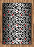 Poker Tournament Area Rug by Lunarable, Card Symbols Hearts Spade Ornament Victorian Floral Swirls Pattern, Flat Woven Accent Rug for Living Room Bedroom Dining Room, 5.2 x 7.5 FT, Silver Black Red