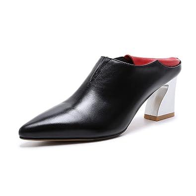 QXH Frauen Sandalen Leder Wies High Heel Tief Mund Farbe