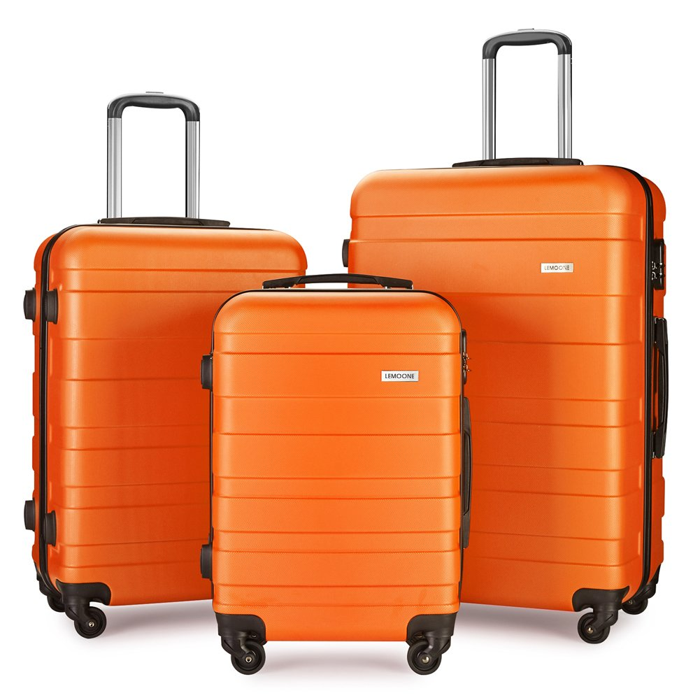 Luggage Set Spinner Hard Shell Suitcase Lightweight Carry On - 3 Piece (20'' 24'' 28'') (Orange) by LEMOONE