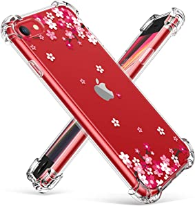 "GVIEWIN Clear Flower iPhone SE 2020 Case/iPhone 8 Case/iPhone 7 Case, Soft TPU Silicone Ultra-Thin Slim Fit Transparent Woman Flowers Flexible Cover for 4.7"" iPhone SE2/7/8, Peach Blossom/Pink"
