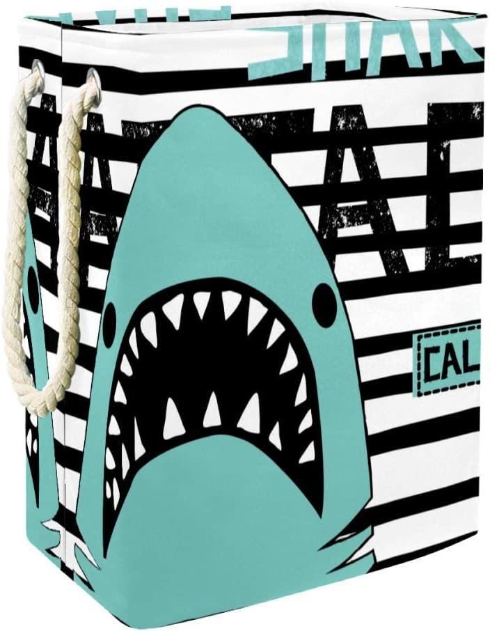 Unicey Shark Stripes California Laundry Hamper Collapsible Basket for Storage Bin Baby Hamper