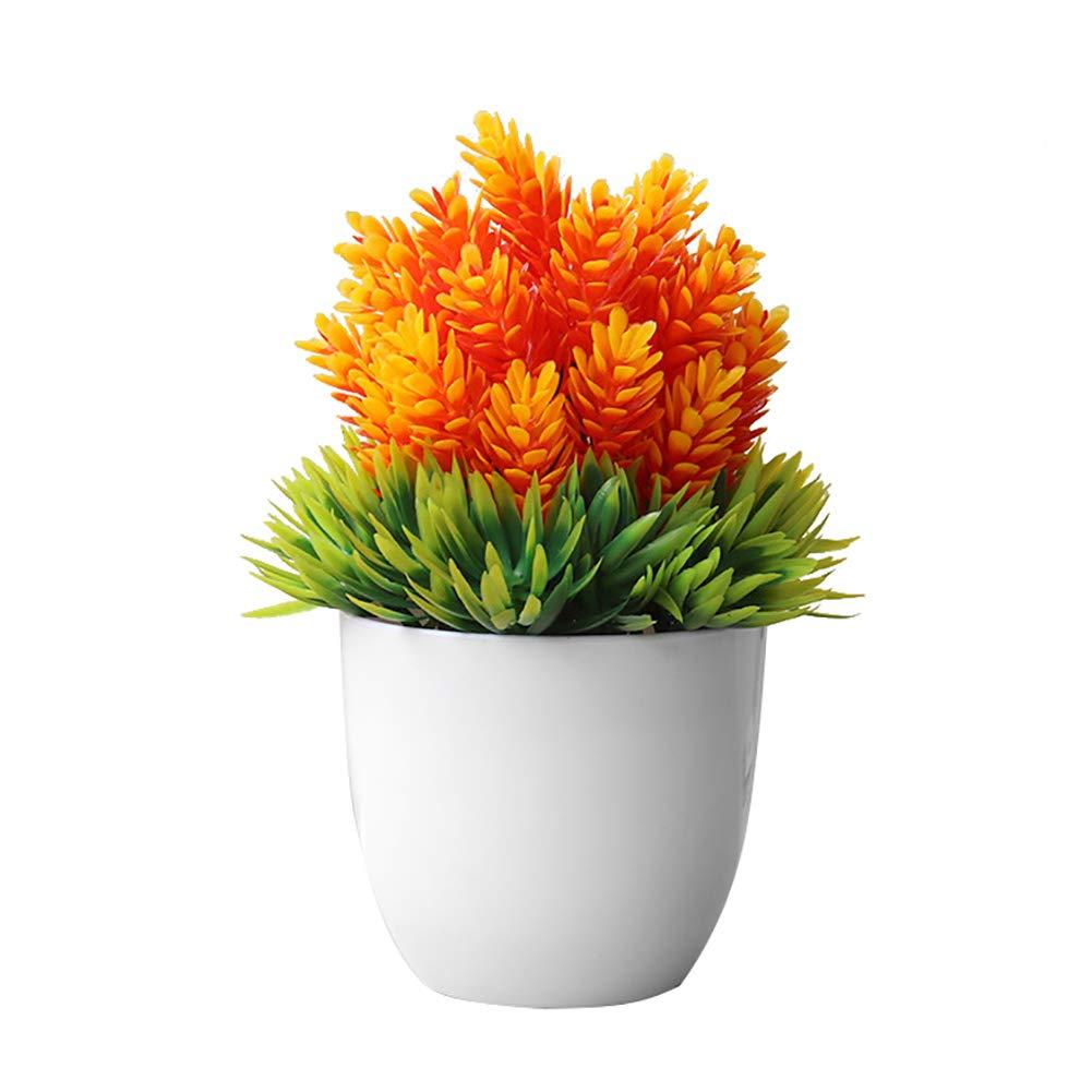 dezirZJjx Artificial Plants Artificial Potted Plant Fake Bonsai Table Simulation Decor for Home Office Hotel - Orange