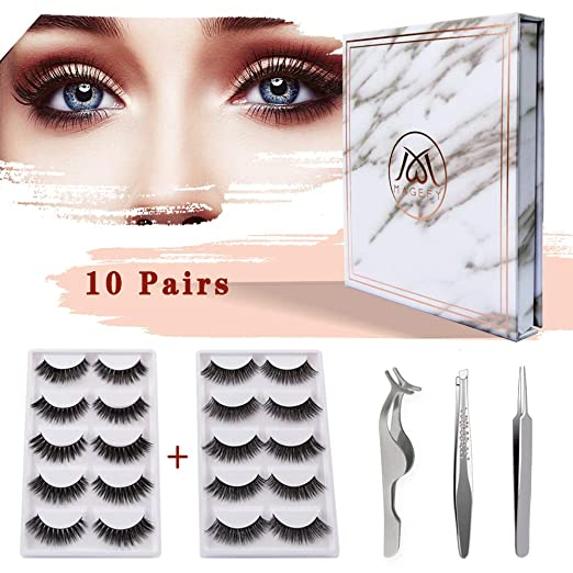 MAGEFY 10 Pairs 2 Styles Fake Eyelashes Reusable 3D Handmade False Eyelashes Set for Natural Look with False Lashes Applicator,Eyebrows Tweezer and Double Eyelid Stickers best fake eyelashes