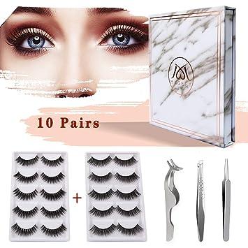 976902e6b2b Amazon.com : MAGEFY 10 Pairs 2 Styles Fake Eyelashes Reusable 3D Handmade  False Eyelashes Set for Natural Look with False Lashes Applicator, ...
