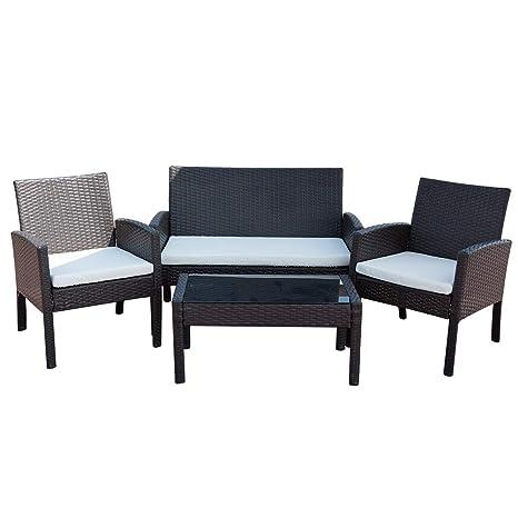 Amazon.com: Juego de muebles de patio y patio, 4 piezas de ...