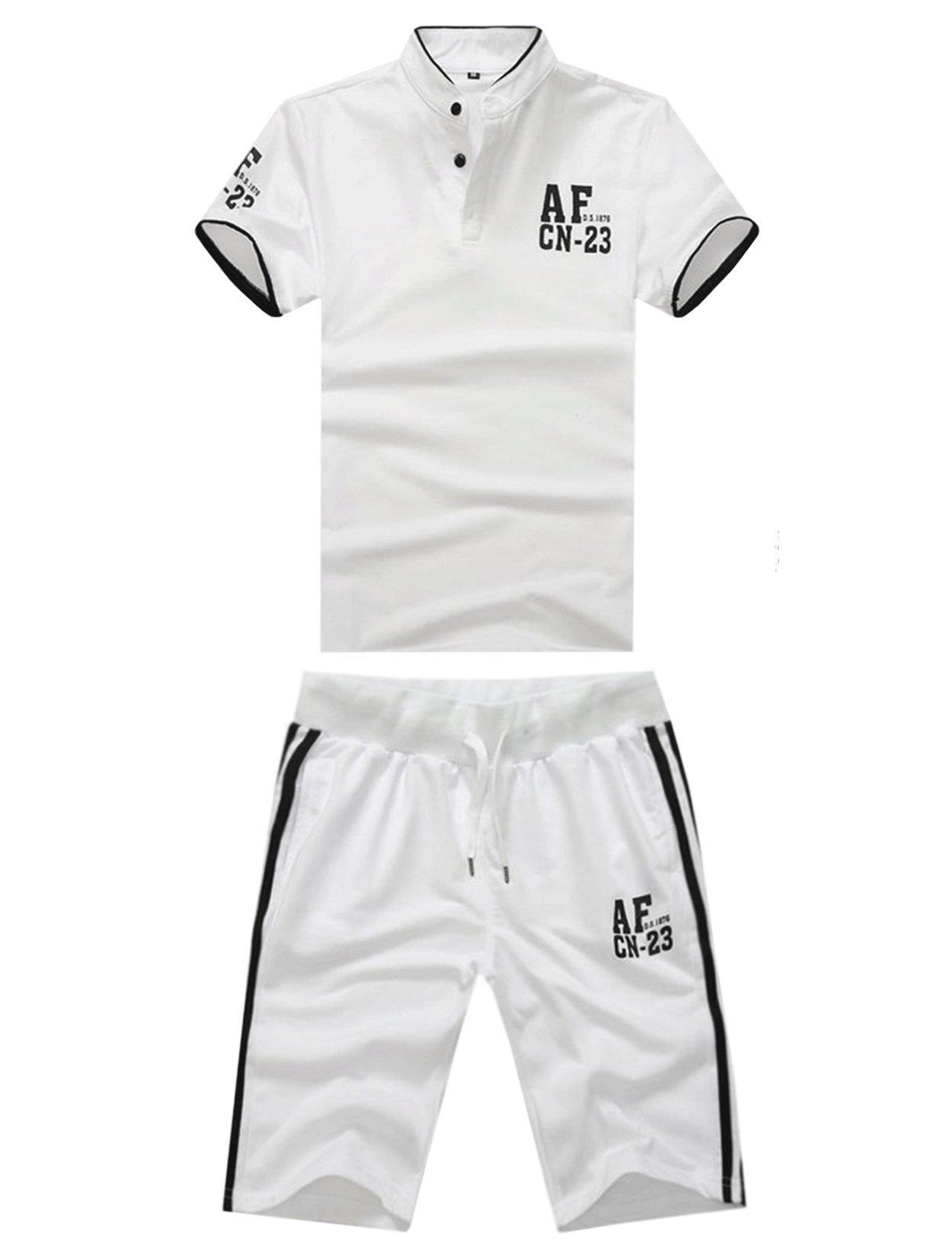 Unomatch Boys Tennis Clothing Short Sleeve T-shirt with Raid Shorts (Large, White)