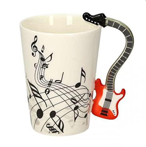 Taza de cerámica smaltata music guitarra eléctrica roja. 00000 Tazas desayuno guitarras música