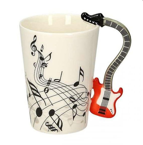 Taza de cerámica smaltata music guitarra eléctrica roja. 00000 Tazas desayuno guitarras música: Amazon.es: Hogar