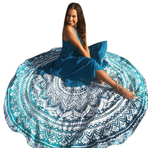 Usstore Round Roundie Beach Throw Beach Cover Up Bikini Boho Dress Swimwear Bathing Suit Kimono Tunic Round Yoga Mat Tassel Fringing (Mint Green)
