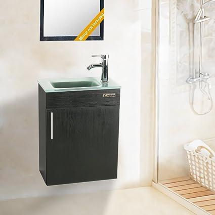 Amazon.com: Eclife 18.4u0027u0027 Bathroom Vanity Combo , Modern Design Wall  Mounted Vanity Set With Terpered Glass Sink Top U0026 Chrome Faucet U0026 Flexible  U Shape ...