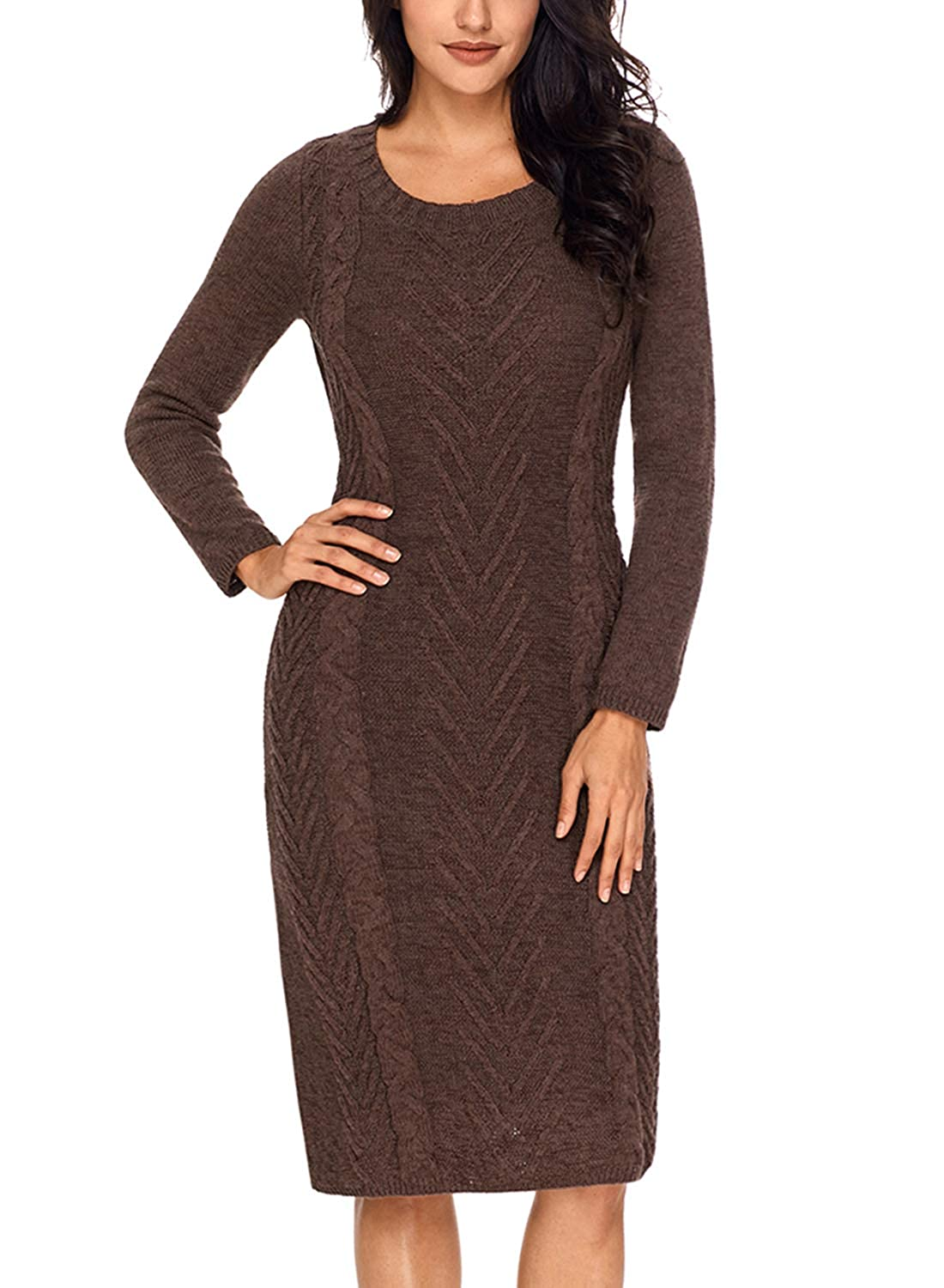 16d75bd7778 Itsmode Womens Long Sleeve Slim Fit Knit Sweater Bodycon Midi Dress at Amazon  Women s Clothing store