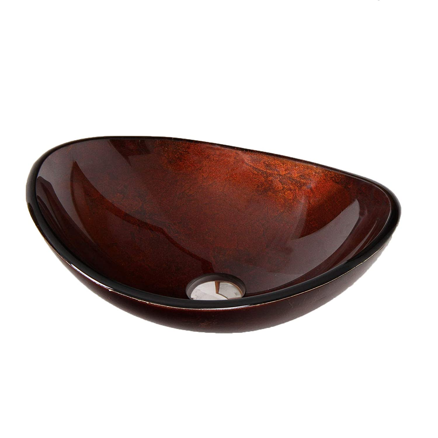 Hand Painted Foil Boat Shaped Oval Bowl Bottom Vessel Bathroom Sink Sink Finish Artistic Bronze