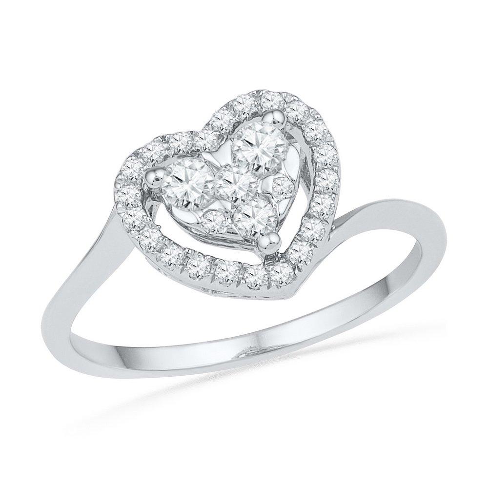 10kt White Gold Womens Round Diamond Framed Heart Cluster Ring 1/3 Cttw