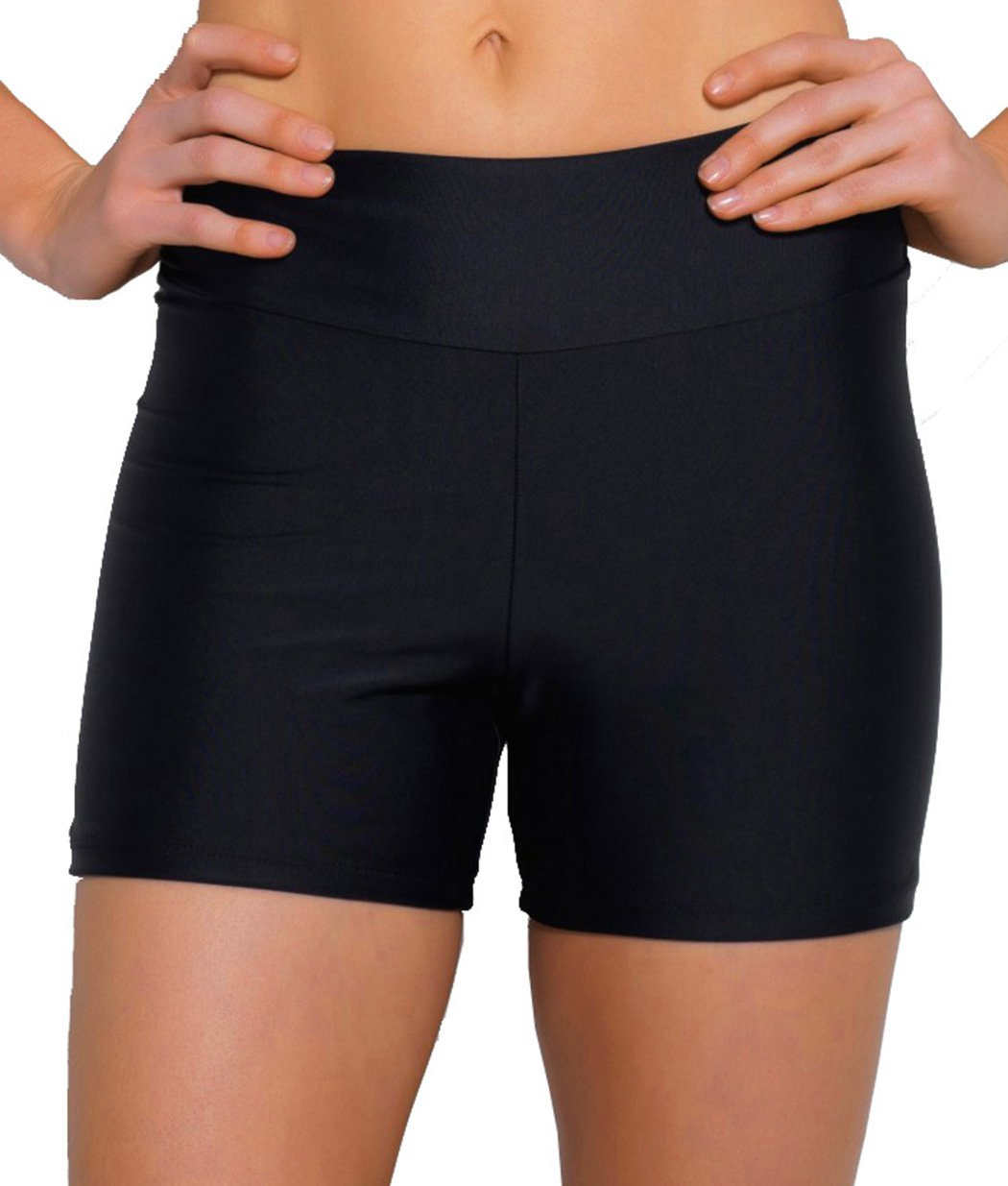 ebuddy Women Summer Swimwear Tummy Tuk Swim Bottom Shorts,Boyleg-black,US10 (Tag L)