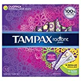 Tampax Radiant Tampons with Plastic Applicator, Regular/Super Absorbency Duo Pack, Unscented, 32 Count - Pack of 6 (192 Count Total)