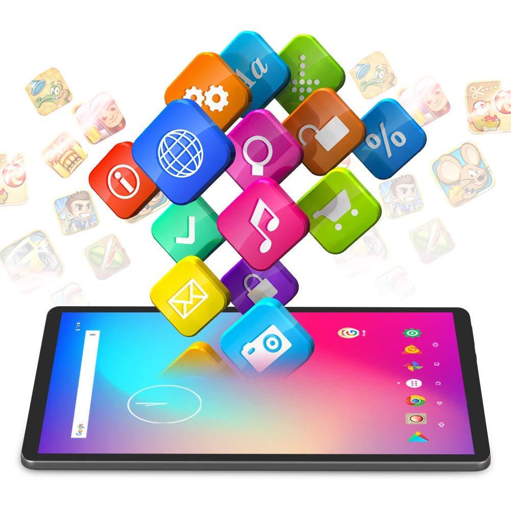 Dragon Touch K10 Tablet Android 8.1, Tablet con processore quad-core da 16 GB con lo schermo IPS HD, Famiglia Tab con micro HDMI, GPS, FM, WiFi 5G, Corpo in Metallo(Nero)