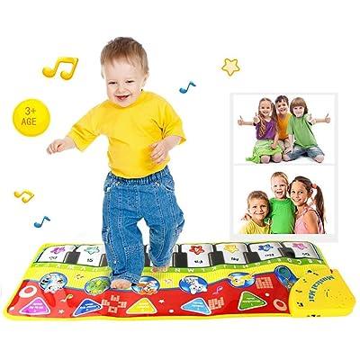 Teclado de juegos Pawaca, alfombra gimnasio para música y cantar, bebé o niño pequeño, piano de suelo, alfombra divertida de juegos, manta para niños: Juguetes y juegos