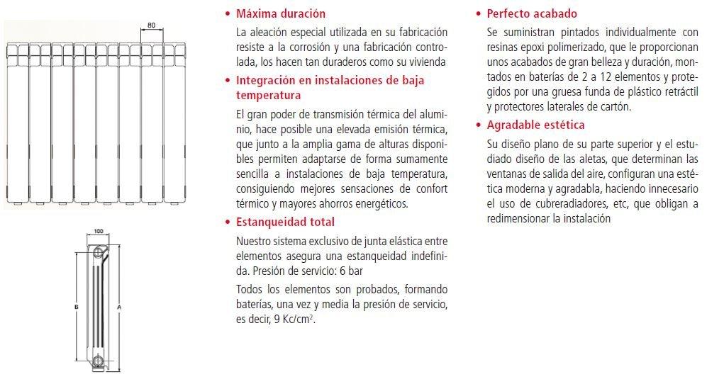RADIADOR DE ALUMINIO FERROLI MODELO XIAN 600 (500 e/ejes) DE 10 ELEMENTOS: Amazon.es: Bricolaje y herramientas