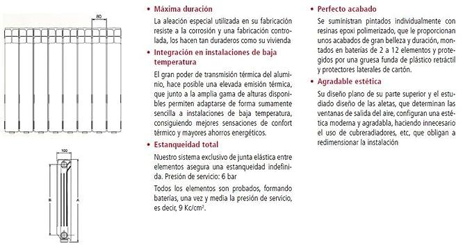 RADIADOR DE ALUMINIO FERROLI MODELO XIAN 600 (500 e/ejes) DE 12 ELEMENTOS: Amazon.es: Bricolaje y herramientas