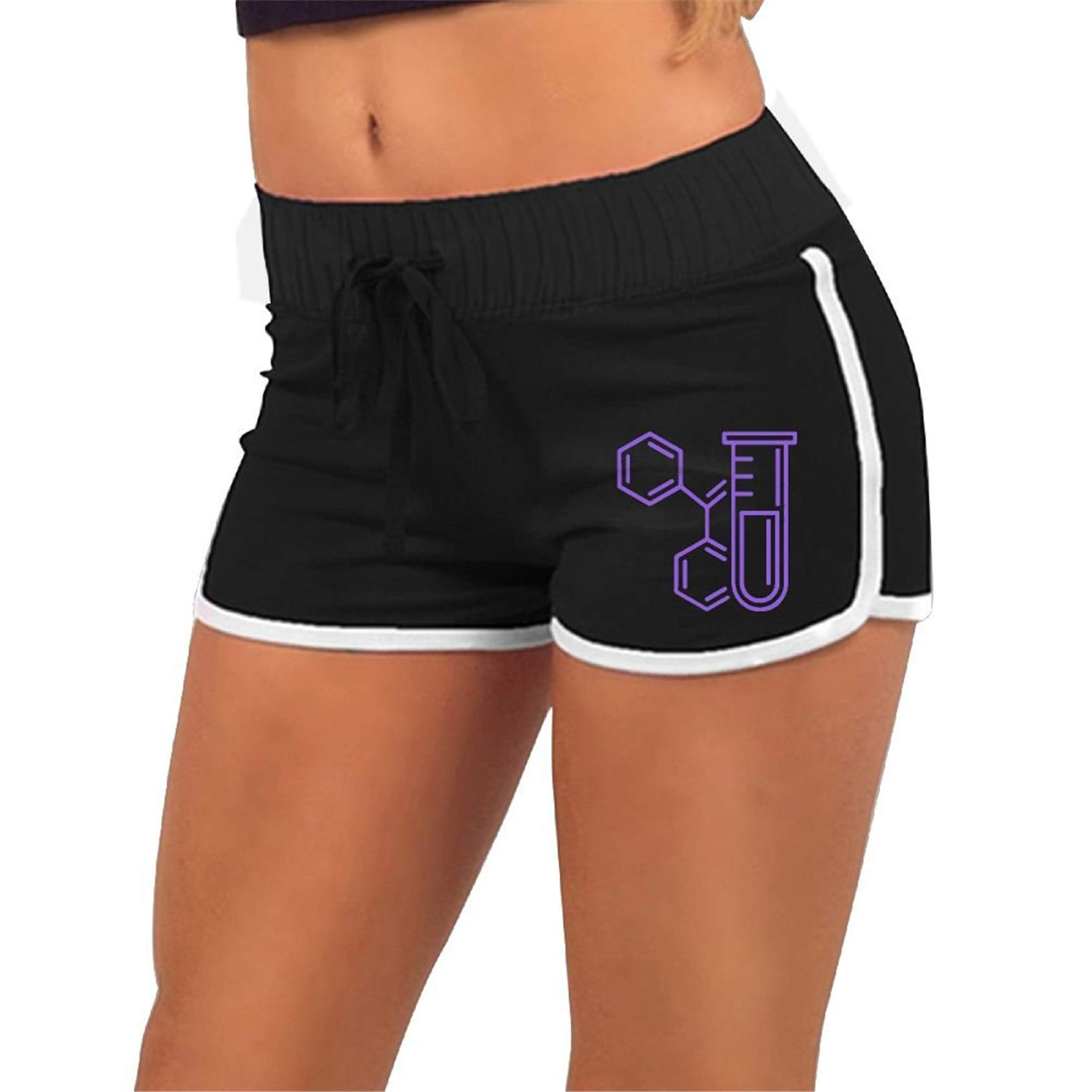 Chemistry Icon Glass Tube,Workout,Running Active Shorts Pants with,Athletic Elastic Waist Womens Sports Shorts
